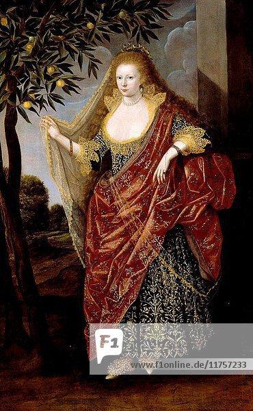 British School 17th century - Portrait of a Lady  Called Elizabeth  Lady Tanfield.