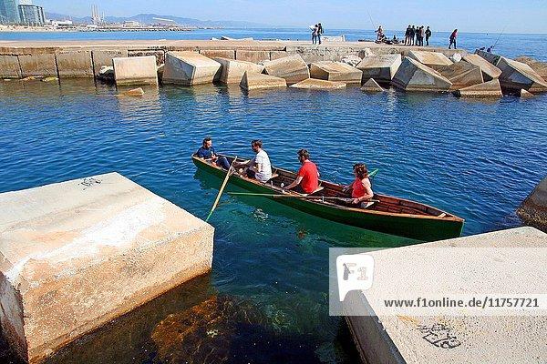 Canoe training Currach  Moll de Barcelona  Catalonia  Spain