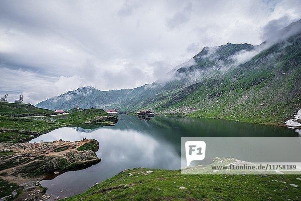 Glacier Balea Lake next to Transfagarasan Road in Fagaras Mountains (part of Carpathian Mountains)  Romania.