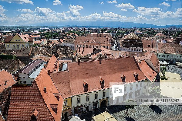 Aerial view from Council Tower on a historical buildings on Large Square (with Weidner-Reussner-Czekelius House) of Historic Center of Sibiu  Romania.