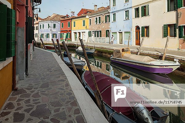 Colourful houses on Burano island in Venice.