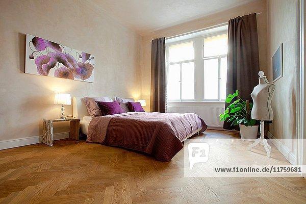 Apartment Interior- Cozy Bedroom in Modern Flat.