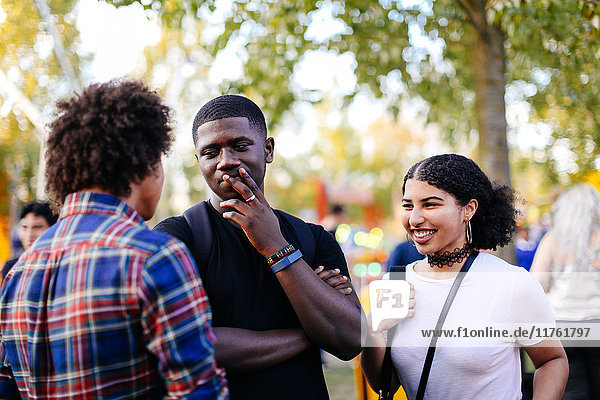 Group of friends at funfair  talking  laughing