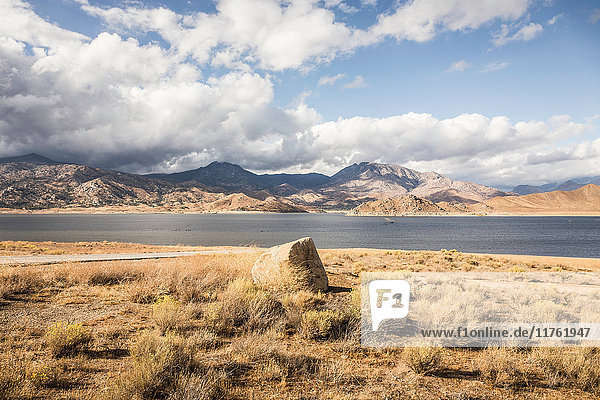 Landscape view of Lake Isabella and mountains  California  USA