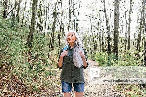 Reife Frau mit langen grauen Haaren  die aus dem Wald aufblickt  Scandicci  Toskana  Italien