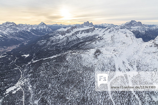 Aerial view of the snowy ridges of the Cinque Torri  Dolomites  Cortina d'Ampezzo  Province of Belluno  Veneto  Italy  Europe