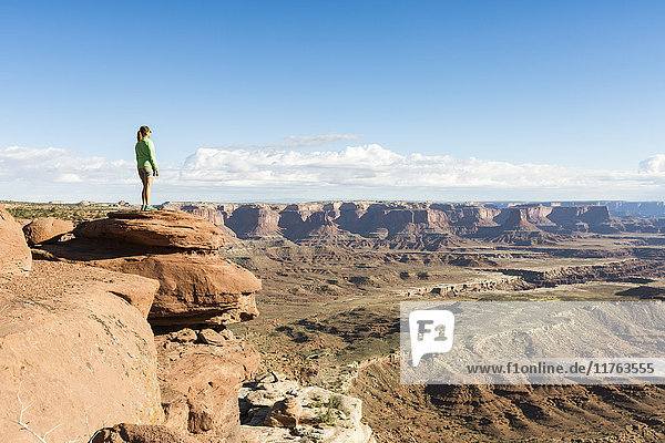 Woman admiring the landscape  Canyonlands National Park  Moab  Utah  United States of America  North America
