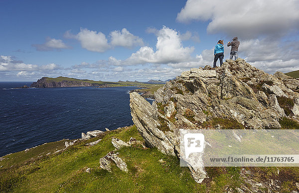 A view from Clogher Head towards Sybil Point  at the western end of the Dingle Peninsula  County Kerry  Munster  Republic of Ireland  Europe