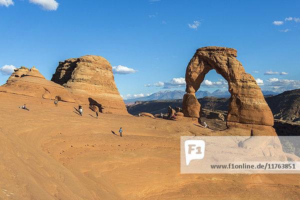 Amerika Brücke Nordamerika Verbindung Blaue Stunde Arches Nationalpark zart Moab Utah