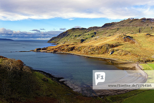 View of the sandy bay Camas nan Geall Sgeir Fhada along the coast and shoreline of Loch Sunart  Ardnamurchan Peninsula  Highlands  Scotland  United Kingdom  Europe