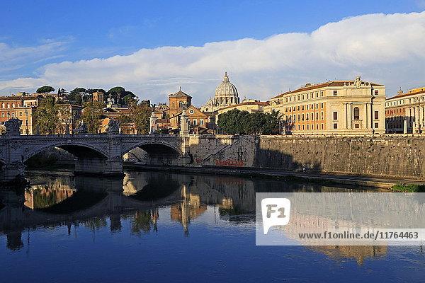 View across Tiber River towards St. Peter's Basilica  Rome  Lazio  Italy  Europe