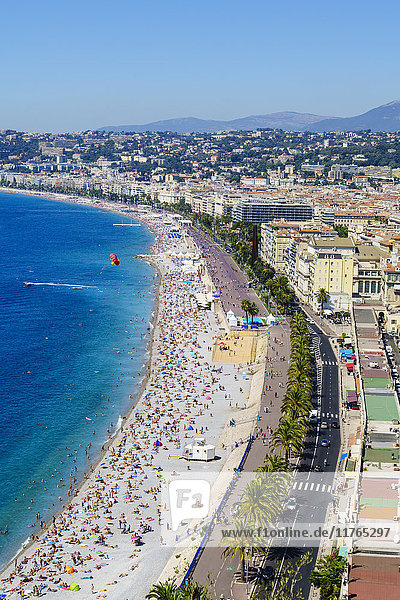 High view of the Promenade Anglais and beach  Nice  Alpes Maritimes  Cote d'Azur  Provence  France  Mediterranean  Europe