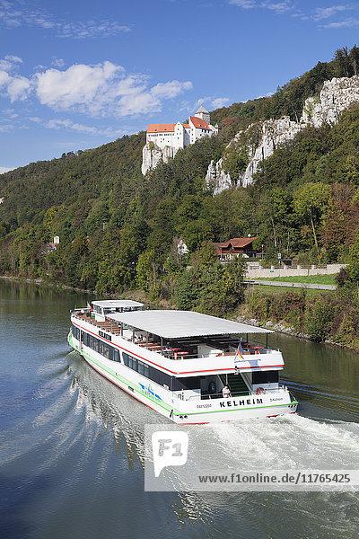 Excursion boat  Prunn Castle  Riedenburg  nature park  Altmuhltal Valley  Bavaria  Germany  Europe