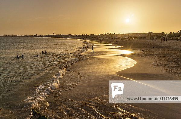 Sunset at the beach in Santa Maria  Praia de Santa Maria  Baia de Santa Maria  Sal Island  Cape Verde  Atlantic  Africa