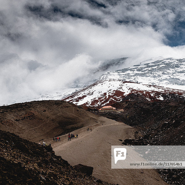 Hiking towards the refuge  Cotopaxi Volcano  Ecuador  South America