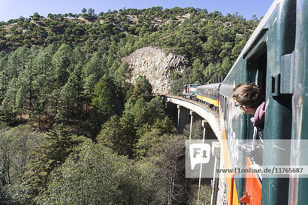 The El Chepe railway from Fuerte to Creel along the Copper Canyon  Mexico  North America
