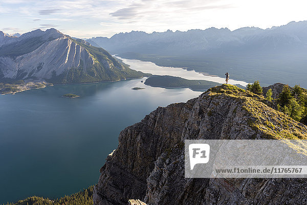 Breathtaking view at sunrise of Kananaskis Lake from peak of hike  Alberta  Rocky Mountains  Canada  North America