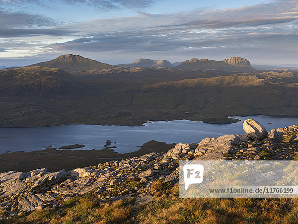 A view across to the mountains of Assynt from the slopes of Quinag  Sutherland  Highlands  Scotland  United Kingdom  Europe