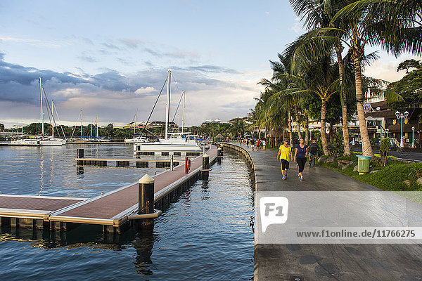 Waterfront of Papeete at sunset  Tahiti  Society Islands  French Polynesia  Pacific