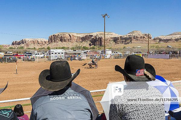 Spectators watching the Annual Utah Navajo Fair  Bluff  Utah  United States of America  North America