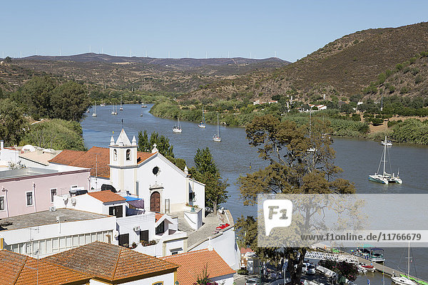 View over whitewashed village of Alcoutim on Rio Guadiana river  Alcoutim  Algarve  Portugal  Europe