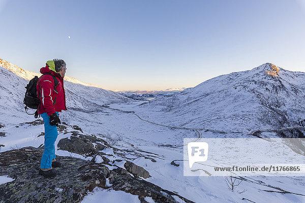 Hiker on top of the rocky crest admires the snowy peaks of Fjordbotn  Lysnes  Senja  Troms  Norway  Scandinavia  Europe