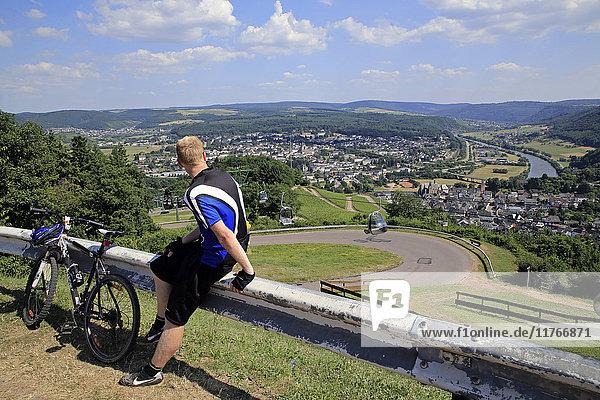 View from Mount Warsberg to Saarburg  Saar River  Rhineland-Palatinate  Germany  Europe