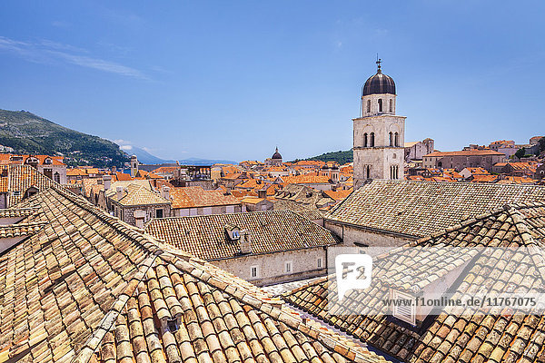 Rooftop view of Franciscan Church  bell tower and Monastery  Dubrovnik Old Town  UNESCO World Heritage Site  Dubrovnik  Croatia  Europe