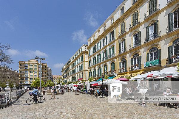 Restaurants and cafes in Plaza de la Merced  Malaga  Costa del Sol  Andalusia  Spain  Europe