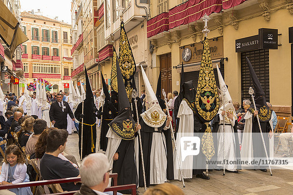 Locals taking part in the Resurrection Parade on Easter Sunday  Malaga  Costa del Sol  Andalusia  Spain  Europe