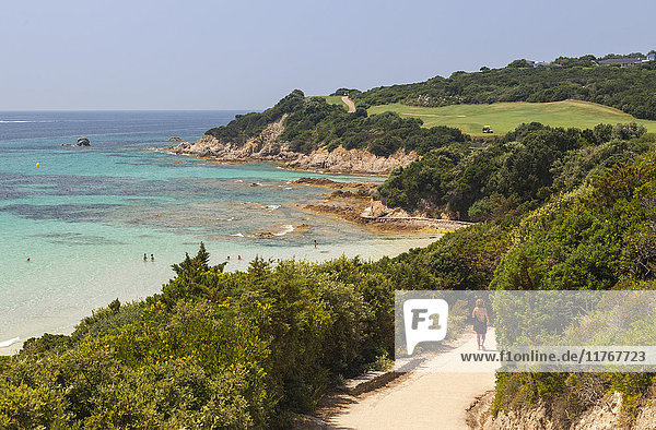 Summer view of the turquoise sea and the golf course on the promontory  Sperone  Bonifacio  South Corsica  France  Mediterranean  Europe