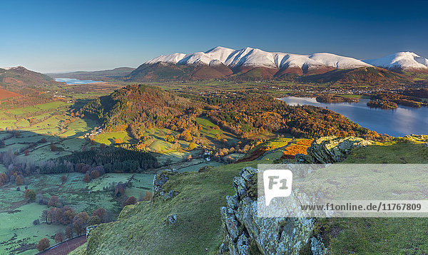 Derwentwater  Skiddaw and Blencathra mountains above Keswick  from Cat Bells  Lake District National Park  Cumbria  England  United Kingdom  Europe