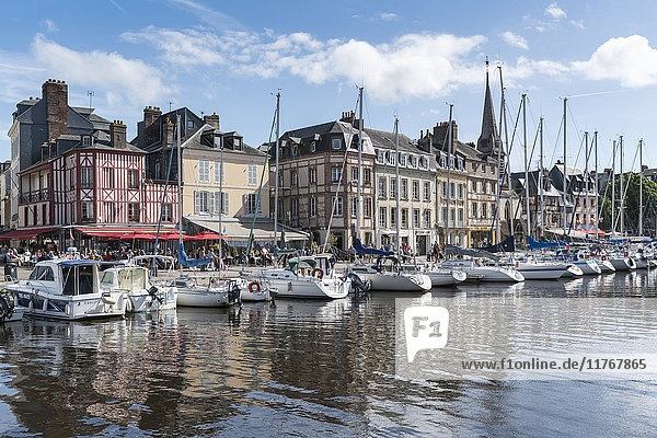 Boats in the harbour  Honfleur  Normandy  France  Europe