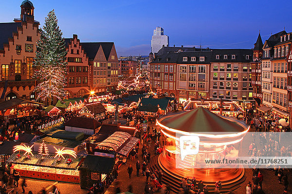 Christmas Fair on Roemerberg Square  Frankfurt am Main  Hesse  Germany  Europe