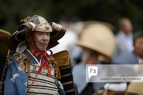 Warrior in full gear during the Jidai Festival  Kyoto  Japan  Asia