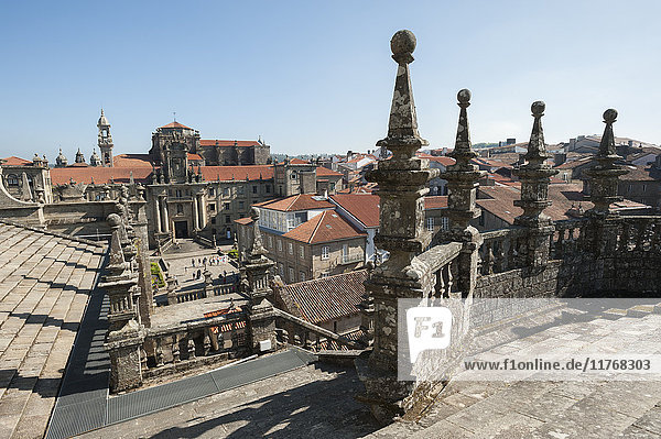 View from the roof of the Cathedral of Santiago de Compostela  UNESCO World Heritage Site  Santiago de Compostela  A Coruna  Galicia  Spain  Europe