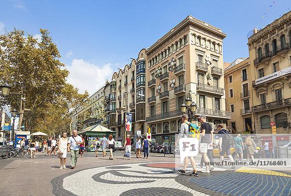 The Barcelona Miro mosaic on La Rambla (Las Ramblas) boulevard  the promenade through Barcelona  Catalonia (Catalunya)  Spain  Europe
