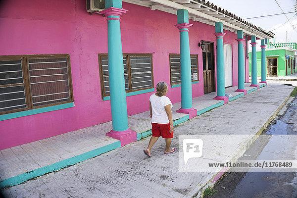 Colourful street scene  Tlacotalpan  UNESCO World Heritage Site  Mexico  North America