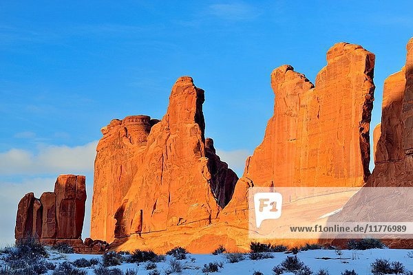 Snow and red rock near Park Place  Arches Natinal Park  Utah  USA.