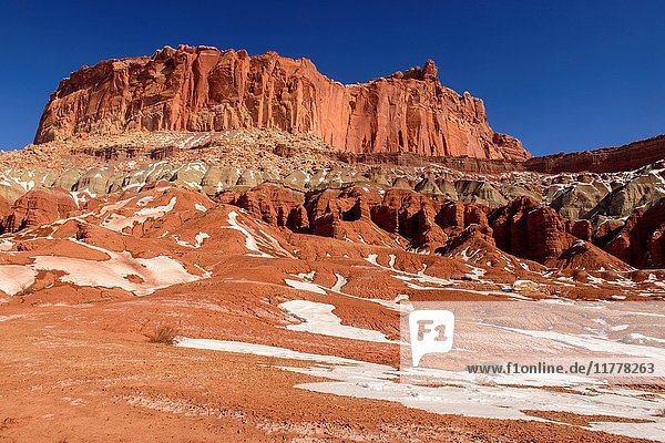 Recent snow in the high desert featuring the Castle  Capitol Reef National Park  Utah  USA.