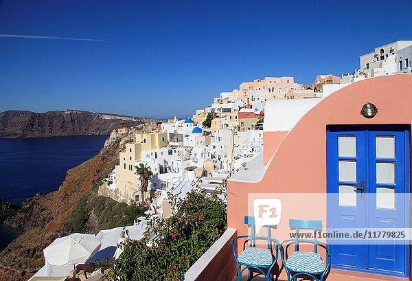 Greece  Cyclades  Santorini  Oia  village  general view  skyline .