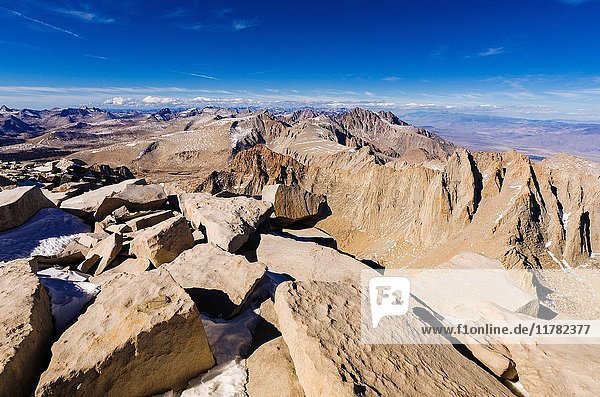 Mount Russell and the Sierra crest from the summit of Mount Whitney  Sequoia National Park  California USA.