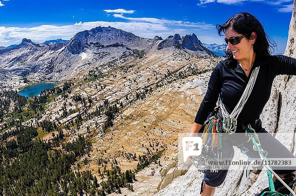 Climber on Cathedral Peak  Tuolumne Meadows area  Yosemite National Park  California USA.