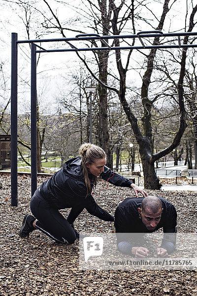 Seitenansicht einer jungen Frau  die dem Mann hilft  eine Bretterstellung im Wald durchzuführen.