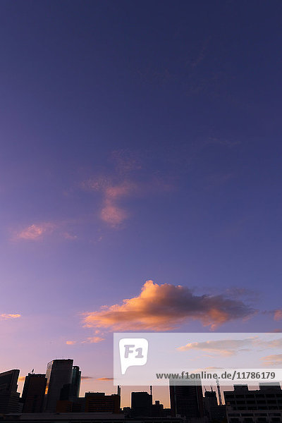 Sunset sky over Tokyo  Japan