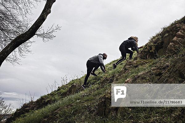 Flachwinkelansicht eines multiethnischen Paares  das auf einem Hügel im Wald klettert.