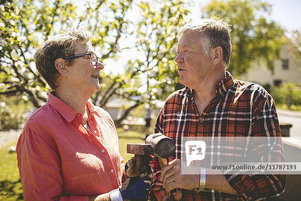 Glückliches Seniorenpaar hält Hämmer in der Hand und schaut sich an einem sonnigen Tag im Hof an.