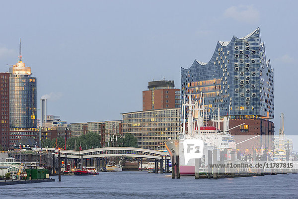 Germany  Hamburg  view from Landing Stages to museum ship Cap San Diego and Elbphilharmonie