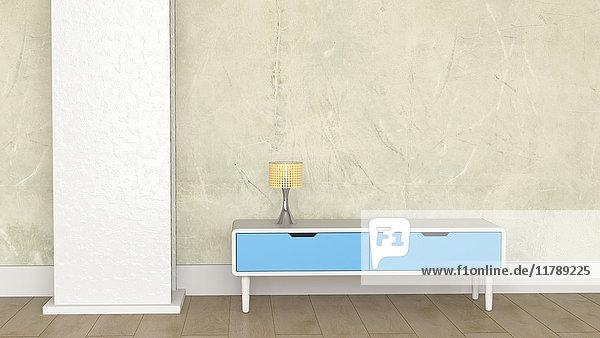 Loft mit Lampe auf Retro-Stil Sideboard