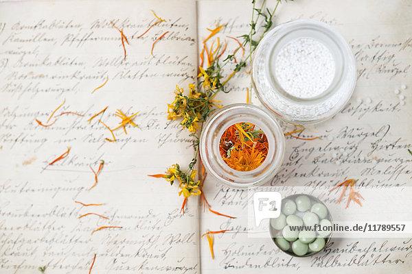 Getrocknete Heilpflanzen und Globuli nach altem Rezeptbuch